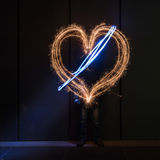Fireworks valentine`s day heart love. Light painting for the valentine`s day Street art royalty free stock photography