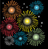 Fireworks. Various bright colorful fireworks explosions vector illustration