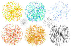 Fireworks various colors against white Royalty Free Stock Photography