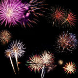 Fireworks of various colors Royalty Free Stock Photos