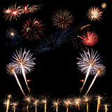 Fireworks of various colors Royalty Free Stock Images