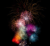 Fireworks in Various Colours Royalty Free Stock Photography