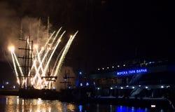 Fireworks at Varna Maritime Station Royalty Free Stock Images