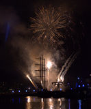 Fireworks at Varna port Royalty Free Stock Photo