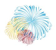 Fireworks vector. Blue, yellow and red fireworks isolated white background. vector Royalty Free Stock Photography