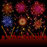 Fireworks vector. Illustration of firework show above the crowd Stock Image