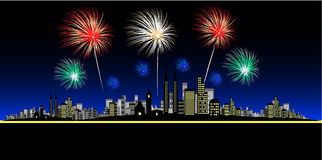 Fireworks Vector. Vector - Fireworks over a big and bright city. Concept: Celebration or new year Royalty Free Stock Photos