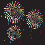Fireworks. Vector background. Beautiful, bright lights of fireworks in the night sky Stock Image