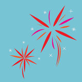 Fireworks Vector. Fireworks on blue background. Vector Stock Photo