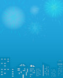 Fireworks vector with city illustration background celebration festival display Royalty Free Stock Images