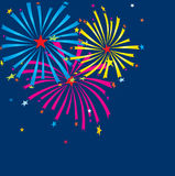 Fireworks. Vector greeting card. Stock Photos
