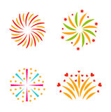 Fireworks vector icon isolated. Festive firework bursting shape firework pictograms isolated. Firework abstract vector isolated illustration and party fun Stock Images
