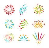 Fireworks vector icon isolated. Festive firework bursting shape firework pictograms isolated. Firework abstract vector isolated illustration and party fun Royalty Free Stock Photos