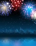 Fireworks. Vector illustration - cityscape with fireworks Stock Photography