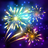 Fireworks vector illustration Royalty Free Stock Photos