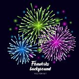 Fireworks Vector illustration on dark blue night background. Fireworks Vector illustration on blue night background Royalty Free Stock Images