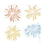 Fireworks, Vector Illustration, Drawn Explosions Isolated. Fireworks, Vector Illustration, Doodle Explosions Isolated On White Background Royalty Free Stock Images