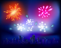 Fireworks. Vector illustration. Fireworks over the City. Vector illustration Stock Image