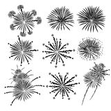Fireworks vector illustration set Stock Photos
