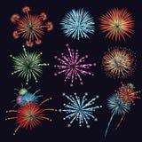 Fireworks vector illustration set Stock Photos