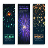 Fireworks vertical banners vector set. Vector fireworks vertical banners set. Card celebration, explosion and happy carnival illustration Stock Photography