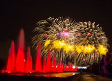 Fireworks in Victory park in honor of the 70 anniversary of the Royalty Free Stock Image