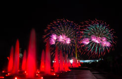 Fireworks in Victory park Royalty Free Stock Images