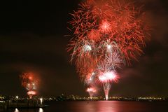 Fireworks view from Coronado Island. Fireworks above the Bay in San Diego as part of the 4th of July Celebration Royalty Free Stock Photography
