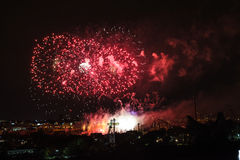Fireworks view from the Jacques-Cartier Bridge Stock Photography
