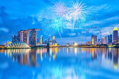 Fireworks with view of the Singapore city at night Stock Photos