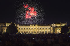 Fireworks on the Villa Reale Monza. Fireworks on the historic Villa Reale for Saint John feast, Monza, Italy stock images