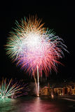 Fireworks in the village Camogli, Italy. Annual fireworks in the village Camogli, Italy  in honor of the patron San Fortunato Stock Image