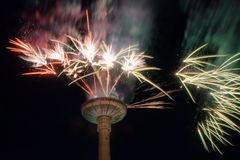 Fireworks at Vilnius television tower Stock Photos
