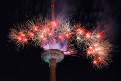 Fireworks at Vilnius television tower Stock Photo