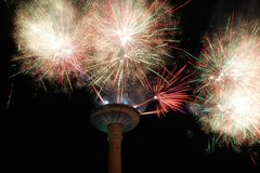 Fireworks at Vilnius television tower Royalty Free Stock Photo