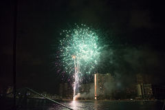 Fireworks at the Waikiki Beach on Oahu royalty free stock photo