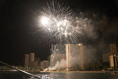 Fireworks at the Waikiki Beach on Oahu royalty free stock photography