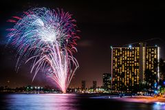 Fireworks in Waikiki royalty free stock photography