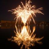 Fireworks at Walpurgis Night, Jablonec nad Nisou. Fireworks at Walpurgis Night mirrored in the city water reservoir, Jablonec nad Nisou, Czech Republic Stock Photo