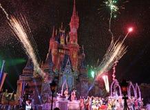 Walt Disney World, Orlando, Florida, Fireworks. Fireworks, Walt Disney World, Orlando, Florida at the Magic Kingdom Park as crowds watch the colorful display Stock Photos