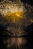 Fireworks on the water Royalty Free Stock Images