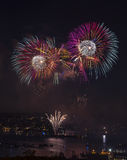 Fireworks on the water in Seattle Washington Royalty Free Stock Images