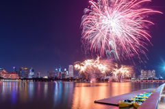 Fireworks by water in Singapore city Stock Photography