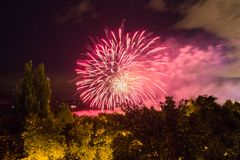 Fireworks on the waterfront in the city of Samara, Russia. The Volga River.  stock image
