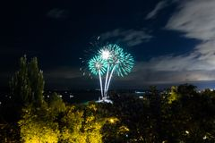 Fireworks on the waterfront in the city of Samara, Russia. The Volga River.  royalty free stock photo