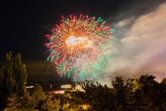 Fireworks on the waterfront in the city of Samara, Russia. The Volga River.  royalty free stock photos