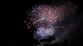 Fireworks on the waterfront in the city of Samara, Russia. The Volga River. Footage clip 4K.  stock footage