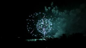 Fireworks on the waterfront in the city of Samara, Russia. The Volga River. Footage clip 4K.  stock video footage