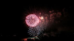 Fireworks on the waterfront in the city of Samara, Russia. The Volga River. Footage clip 4K.  stock video