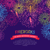 Fireworks Web Banner on Blue. Burst of Salute. Elements vector illustration. Poster in flat style for celebration holidays and parties. Greeting card design in Stock Image